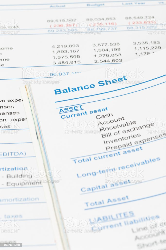 Balance sheet in stockholder report book, document is mock-up stock photo