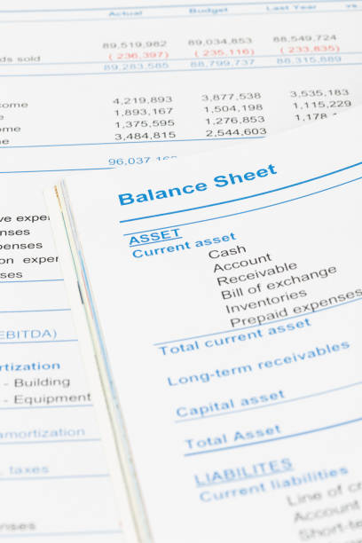 Balance sheet in stockholder report book, document is mock-up Balance sheet in stockholder report book, document is mock-up bank statement stock pictures, royalty-free photos & images