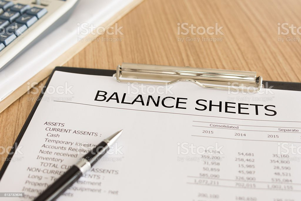 balance sheets stock photo