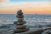 Balance spa wellness concept. Beautiful sunset.
