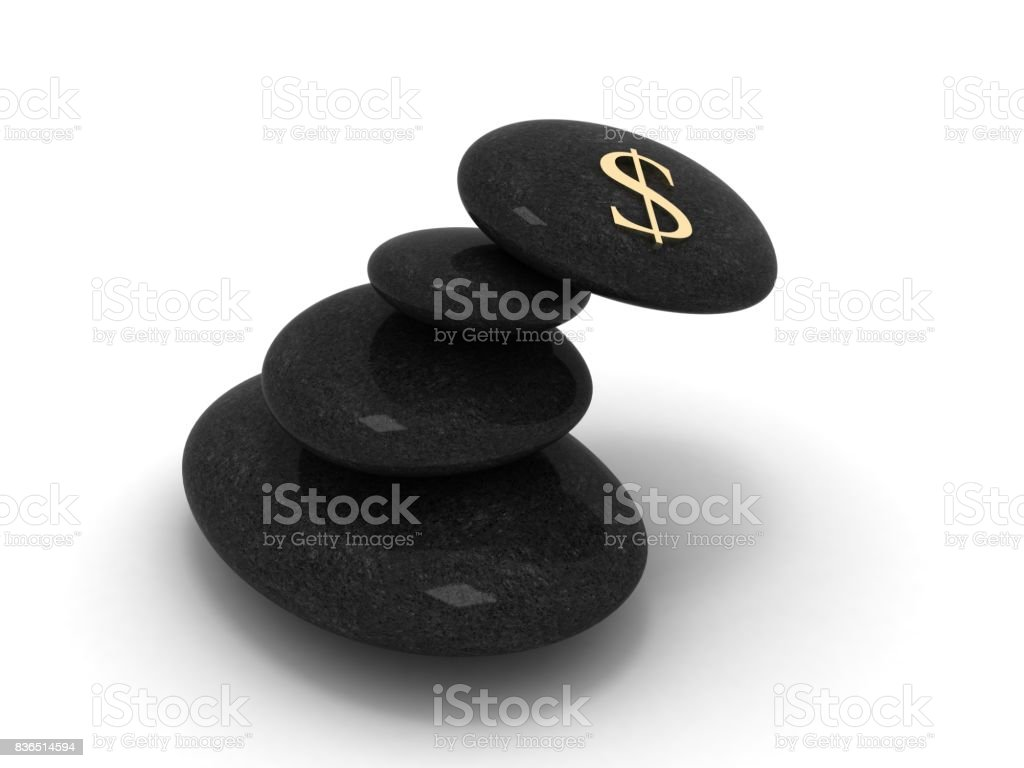 Balance stone pebble dollar currency symbol risk concept stock photo