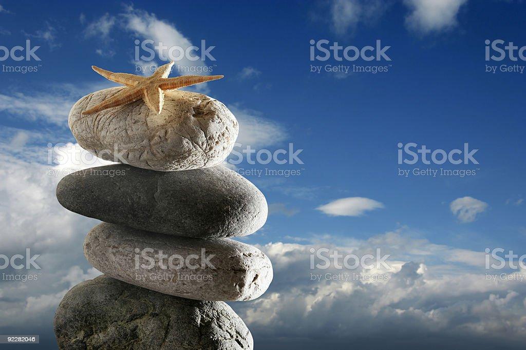 balance stone starfish royalty-free stock photo