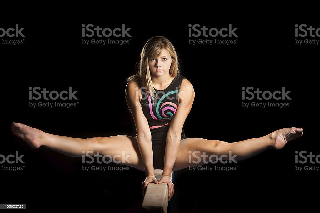 Balance, Strength, and Determination on Beam royalty-free stock photo