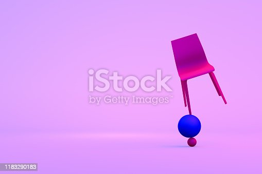 Balance with chair on colorful background. Minimal concept, leadership, business.