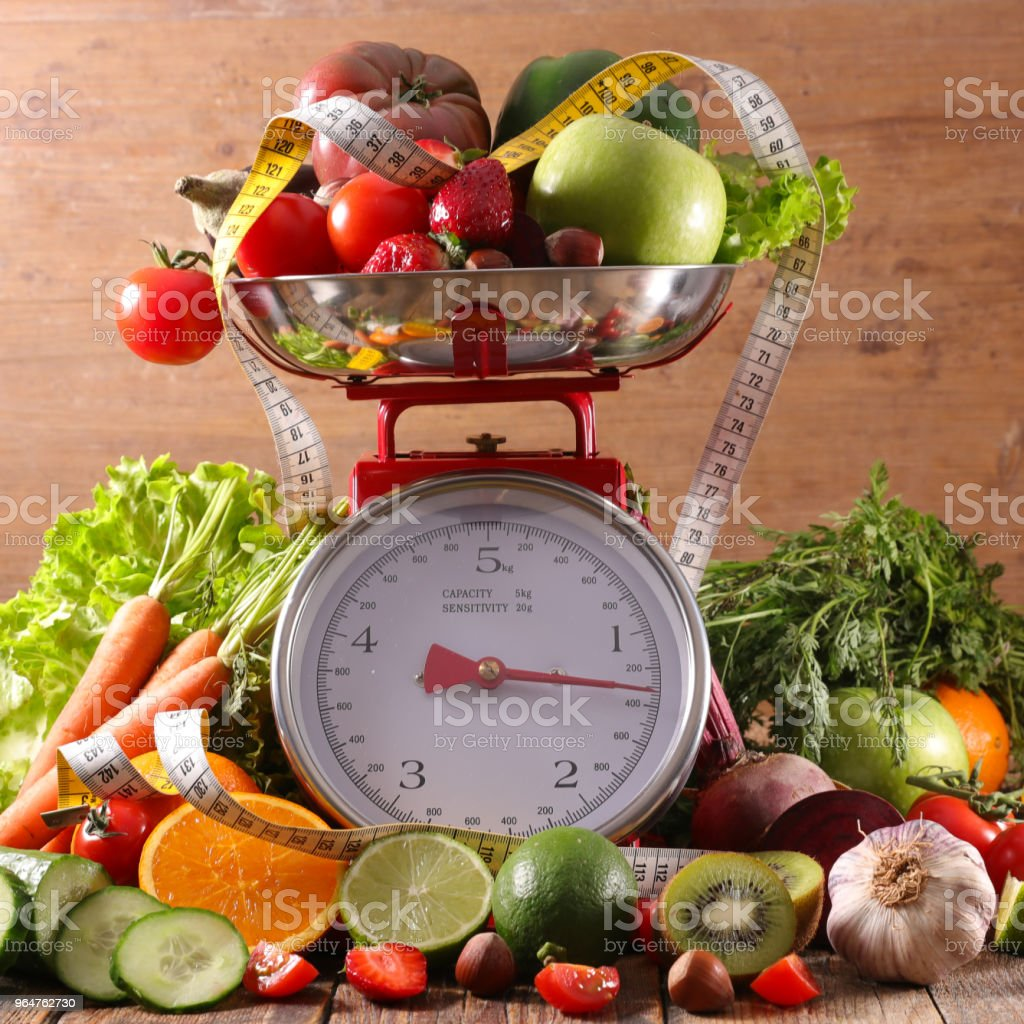 balance with fruit and vegetable royalty-free stock photo