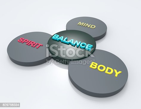 Balance word on circle 3d render