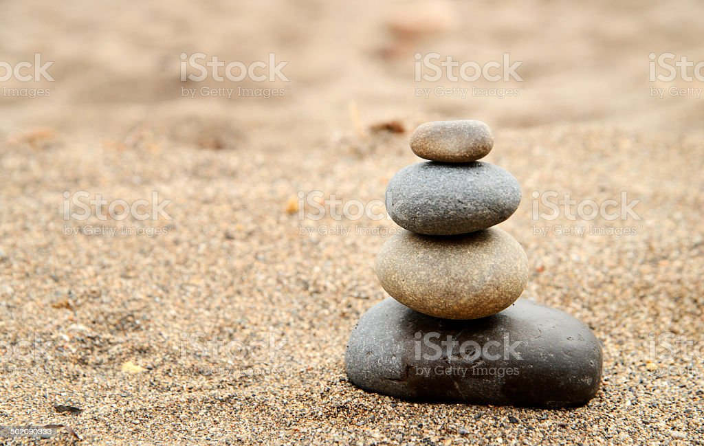 Balance Zen Rocks on the Ocean stock photo