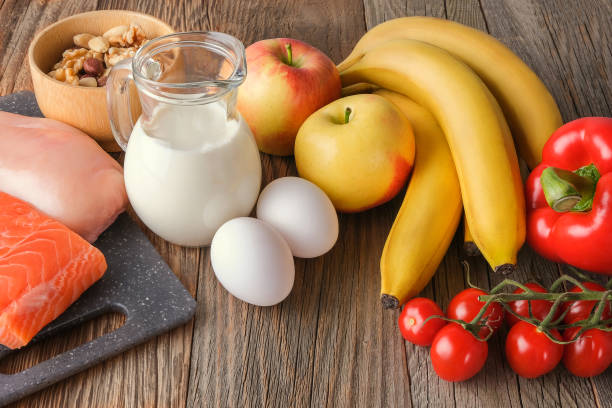 Balanced and healthy diet. stock photo
