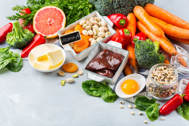 Balanced clean eating nutrition, food rich in vitamin a stock photo