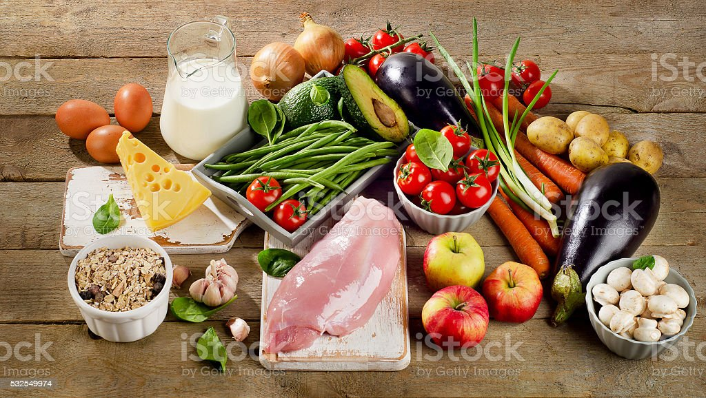 Balanced diet, cooking and organic food concept stock photo