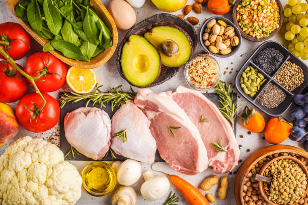 Balanced diet food background. Healthy ingredients on a white background, top view. stock photo