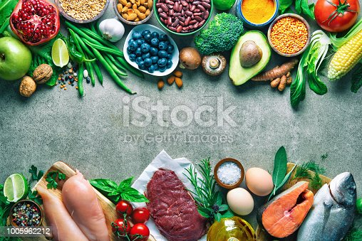 istock Balanced diet food background 1005962212