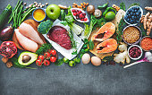 Balanced diet food background. Organic food for healthy nutrition, superfoods, meat, fish, legumes, nuts, seeds and greens