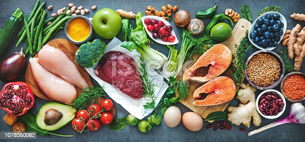istock Balanced diet food background 1078560062