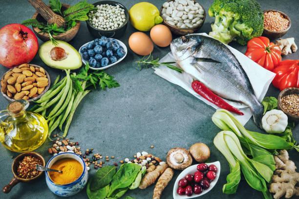 Ausgewogener Nahrungsmittelhintergrund – Foto