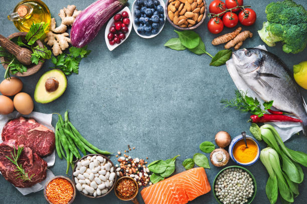 Balanced diet food background stock photo
