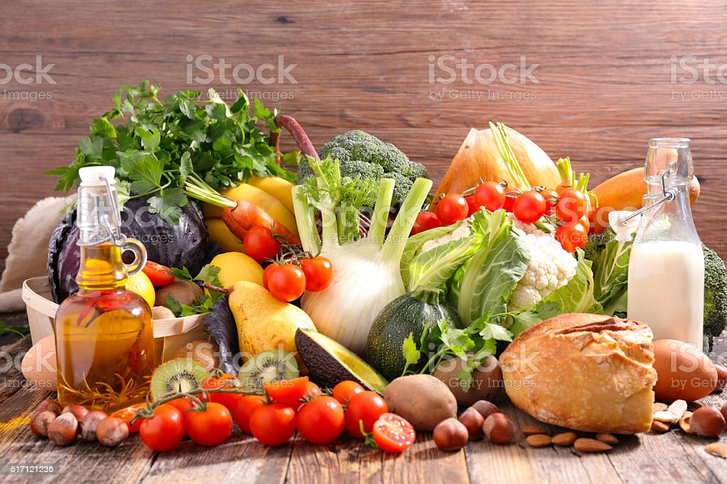 balanced diet food concept stock photo