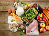Balanced diet, cooking and organic food concept on a rustic wooden table. Top view