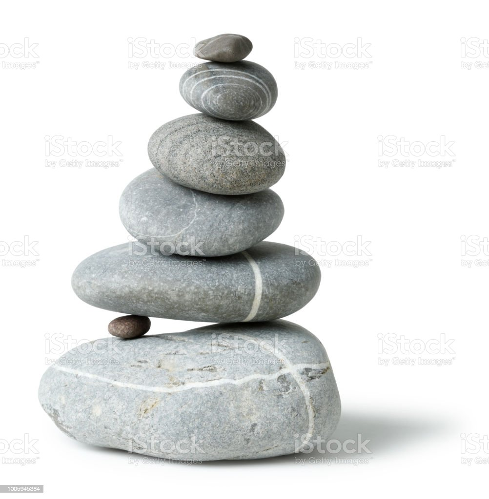 Balanced grey Stone pile stock photo