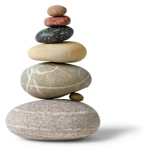 Balanced multicolored Stone pile stock photo