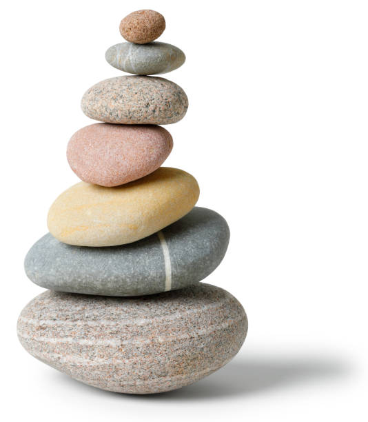 Balanced multicolored Stone pile Balanced multicolored Stone pile with clipping path stone object stock pictures, royalty-free photos & images