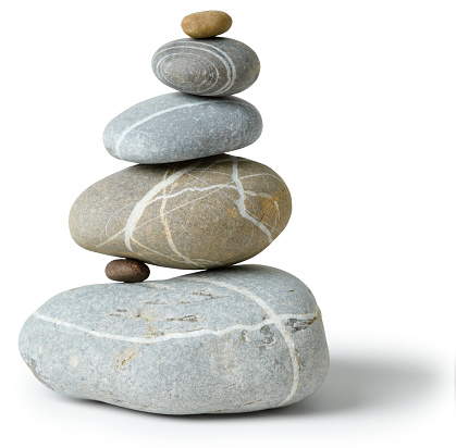 Balanced multicolored Stone pile with clipping path