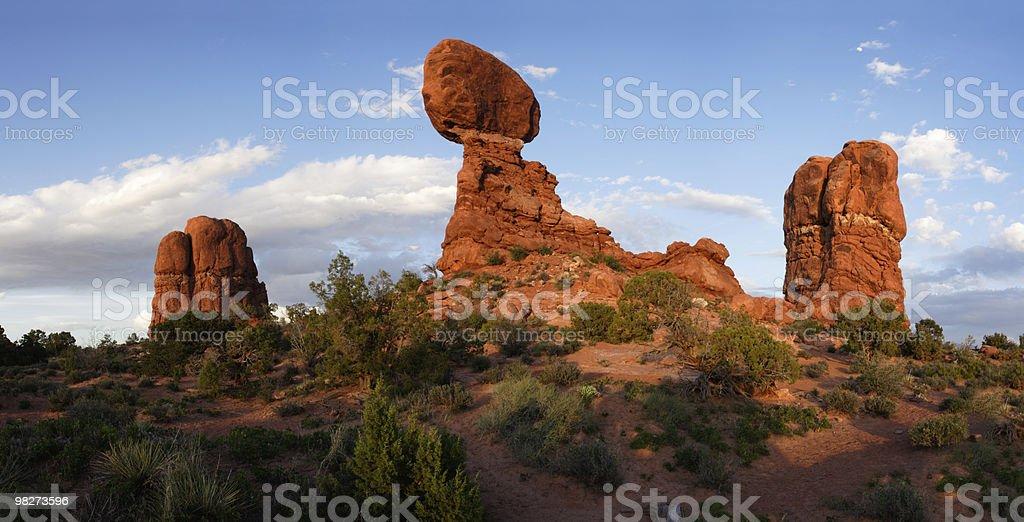 Balanced Rock at Sunset - stitched panorama royalty-free stock photo