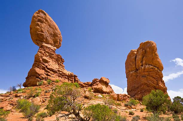 Balanced Rock Desert Landscape Arches National Park Moab Utah stock photo
