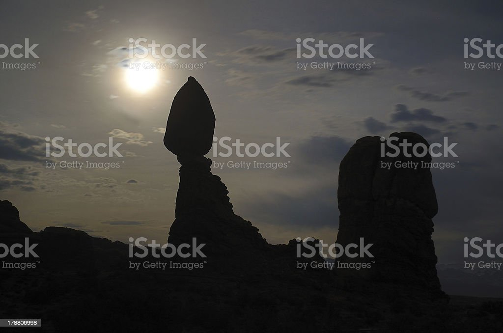 Balanced Rock with Moon in Arches National Park stock photo