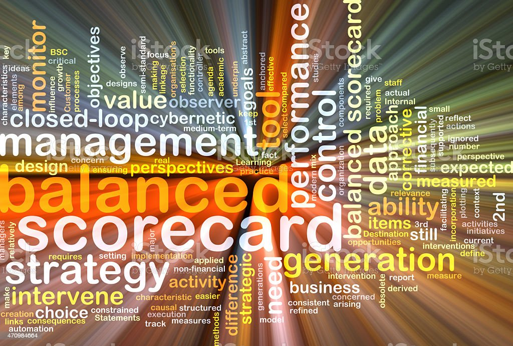 balanced scorecard wordcloud concept illustration glowing stock photo