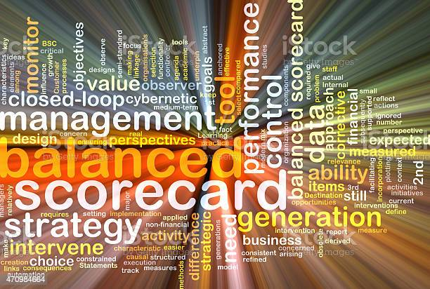 Balanced Scorecard Wordcloud Concept Illustration Glowing Stock Photo - Download Image Now