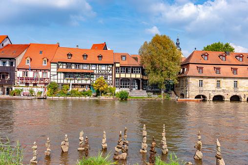 Balanced Stone Pile at Ambiente Klein Venedig of Michaelsberg Abbey - Bamberg, Bavaria, Germany