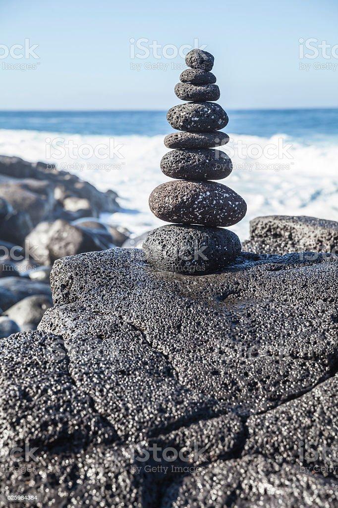 Balanced stone pile at Lanzarote stock photo
