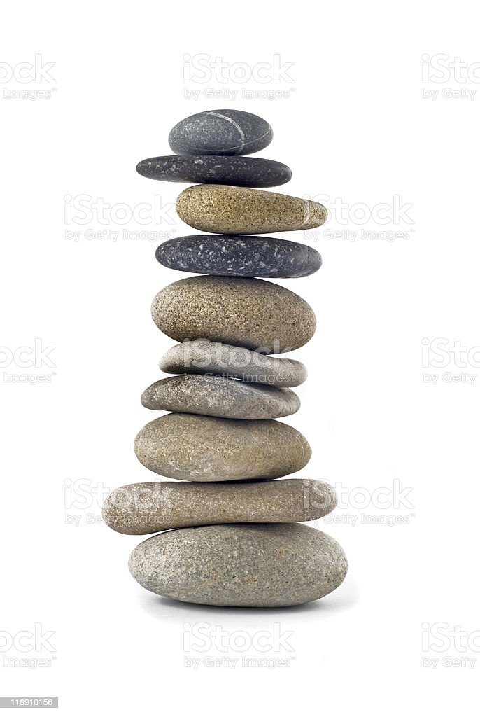 Balanced stone stack or tower isolated royalty-free stock photo