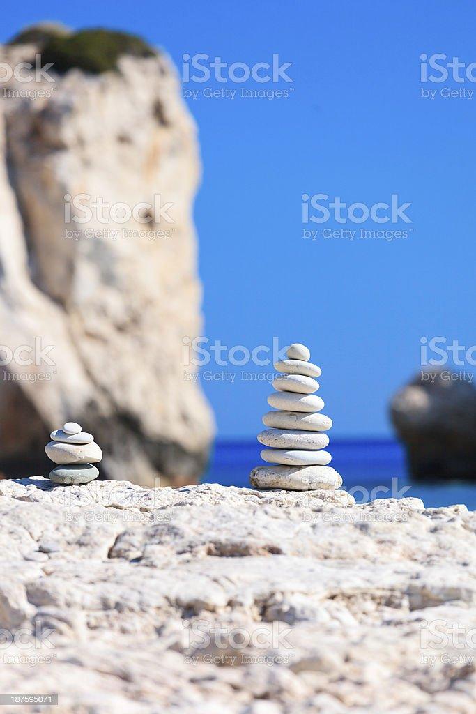 Balanced stones at The Aphrodite's Beach - Cyprus royalty-free stock photo