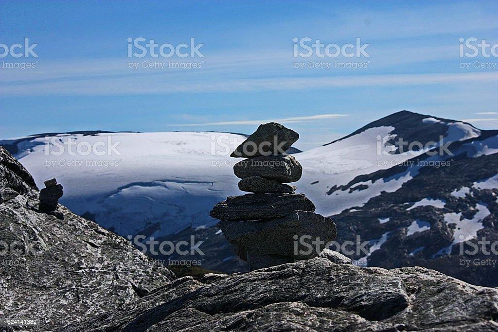 Balanced stones in Norway. stock photo