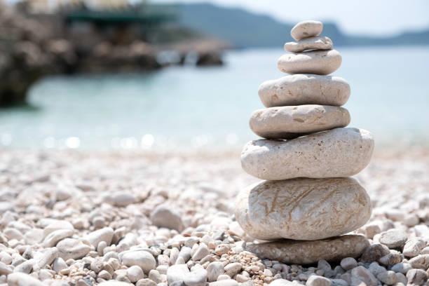 Balanced stones, Teamwork stock photo