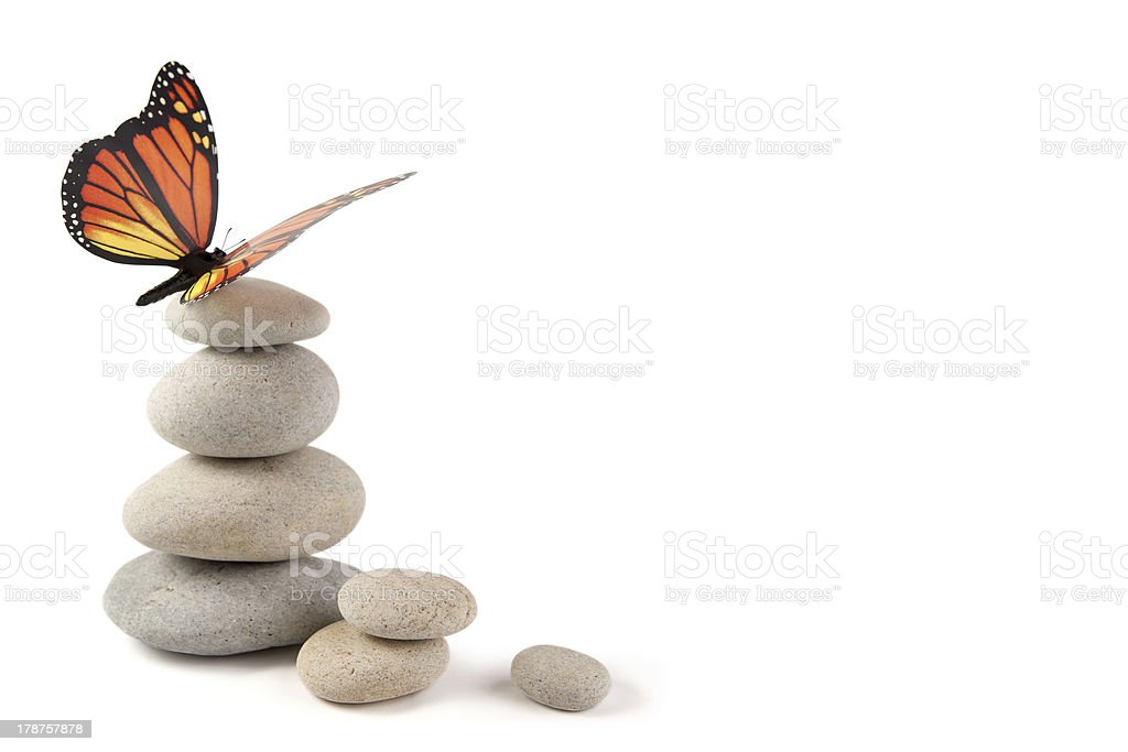 Balanced stones with butterfly stock photo