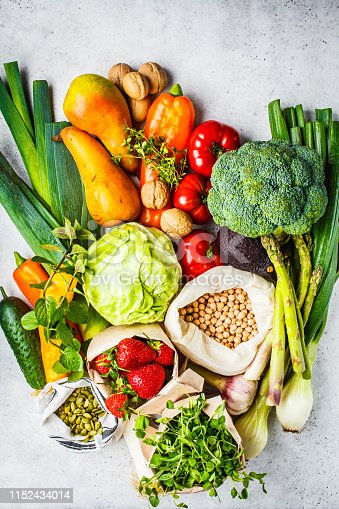 istock Balanced vegetarian food background. Vegetables, fruits, berries, nuts, sprouts, seeds, chickpeas on a white background, top view. 1152434014