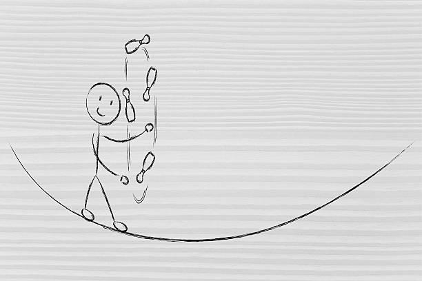 balancing and managing responsibilities: funny character jugglin stock photo