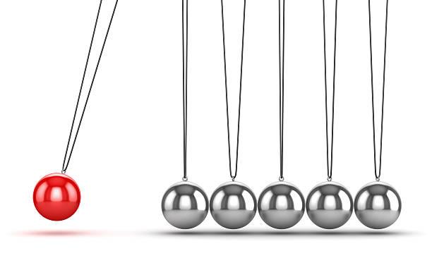 balancing balls newtons cradle - pendulum stock photos and pictures