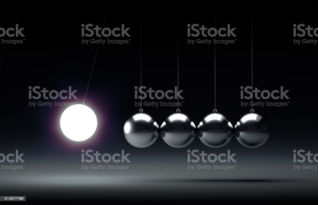 Balancing balls Newton's cradle stock photo