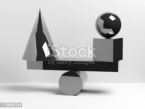 950775710 istock photo Balancing glossy black geometric shapes. 3d 1138357244