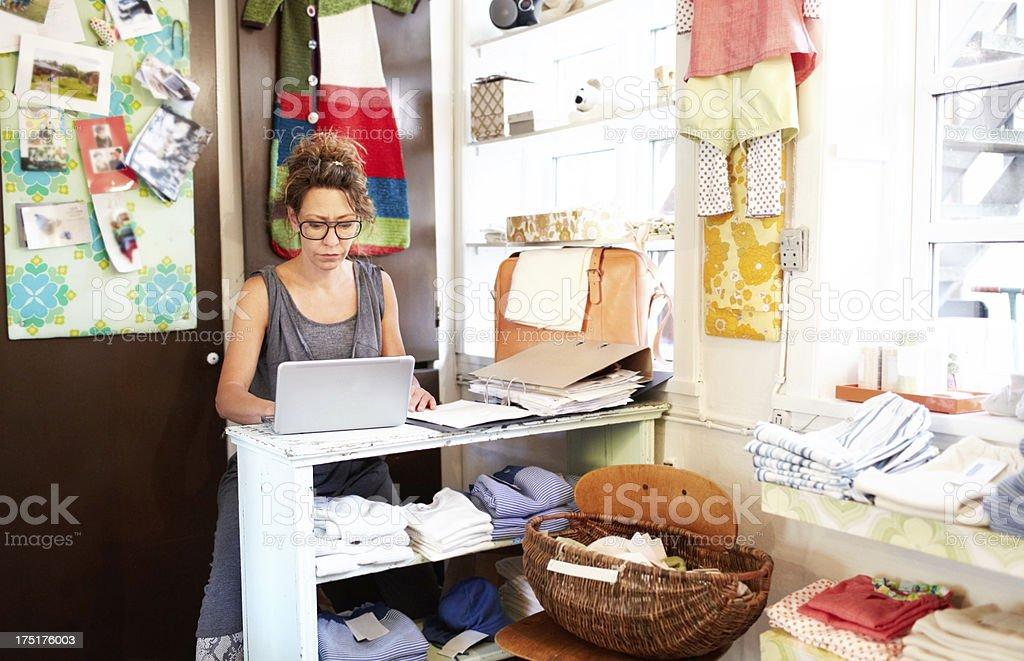 Balancing her books royalty-free stock photo