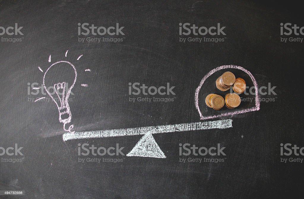 Balancing idea and financial situation stock photo