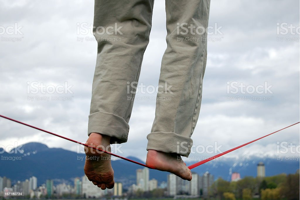 Balancing over Vancouver stock photo