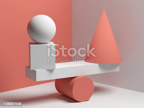 950775710 istock photo Balancing red and white geometric shapes 1138357246