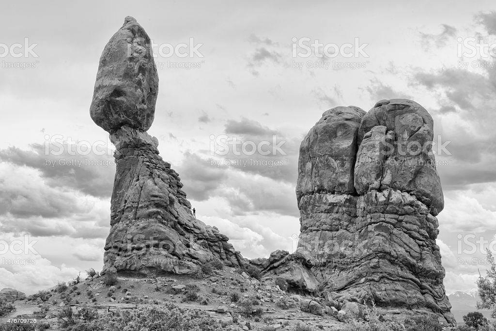 Balancing Rock, Arches National park in Black and WHite