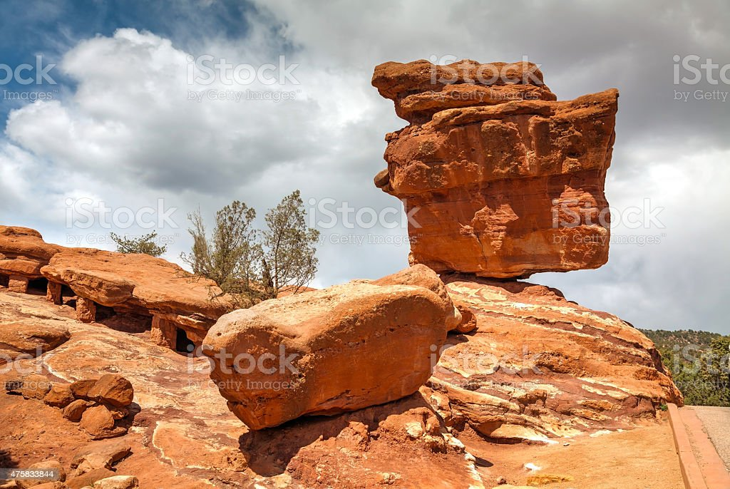 Balancing rock in Garden of the Gods stock photo