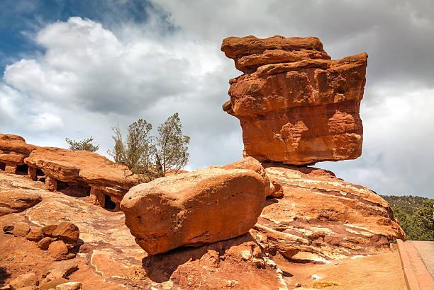 Balancing rock in Garden of the Gods stock photo